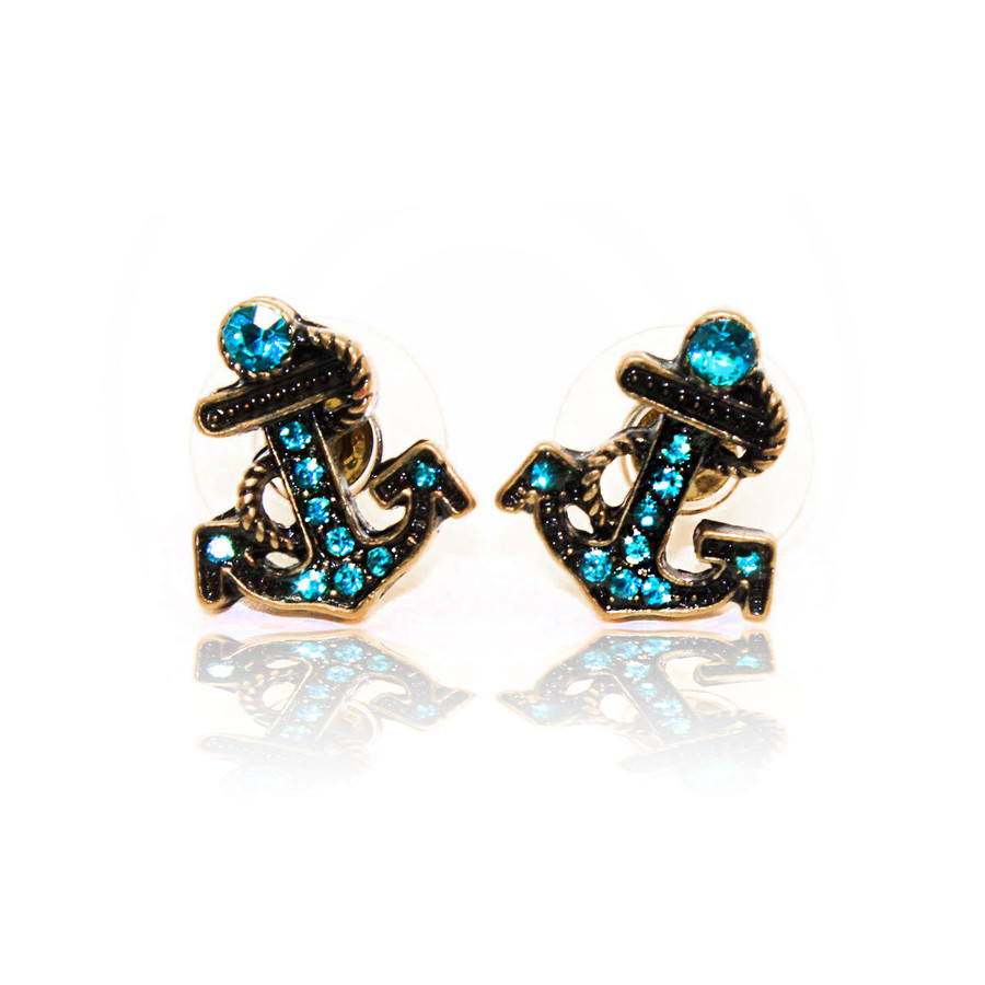 Antiqued Gold and Aqua Bejeweled Anchor Post Earrings