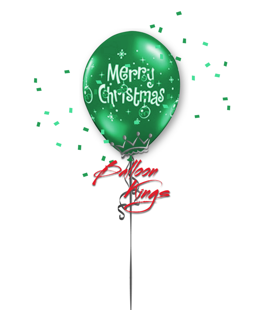 11in Latex Merry Christmas Ornaments - Green