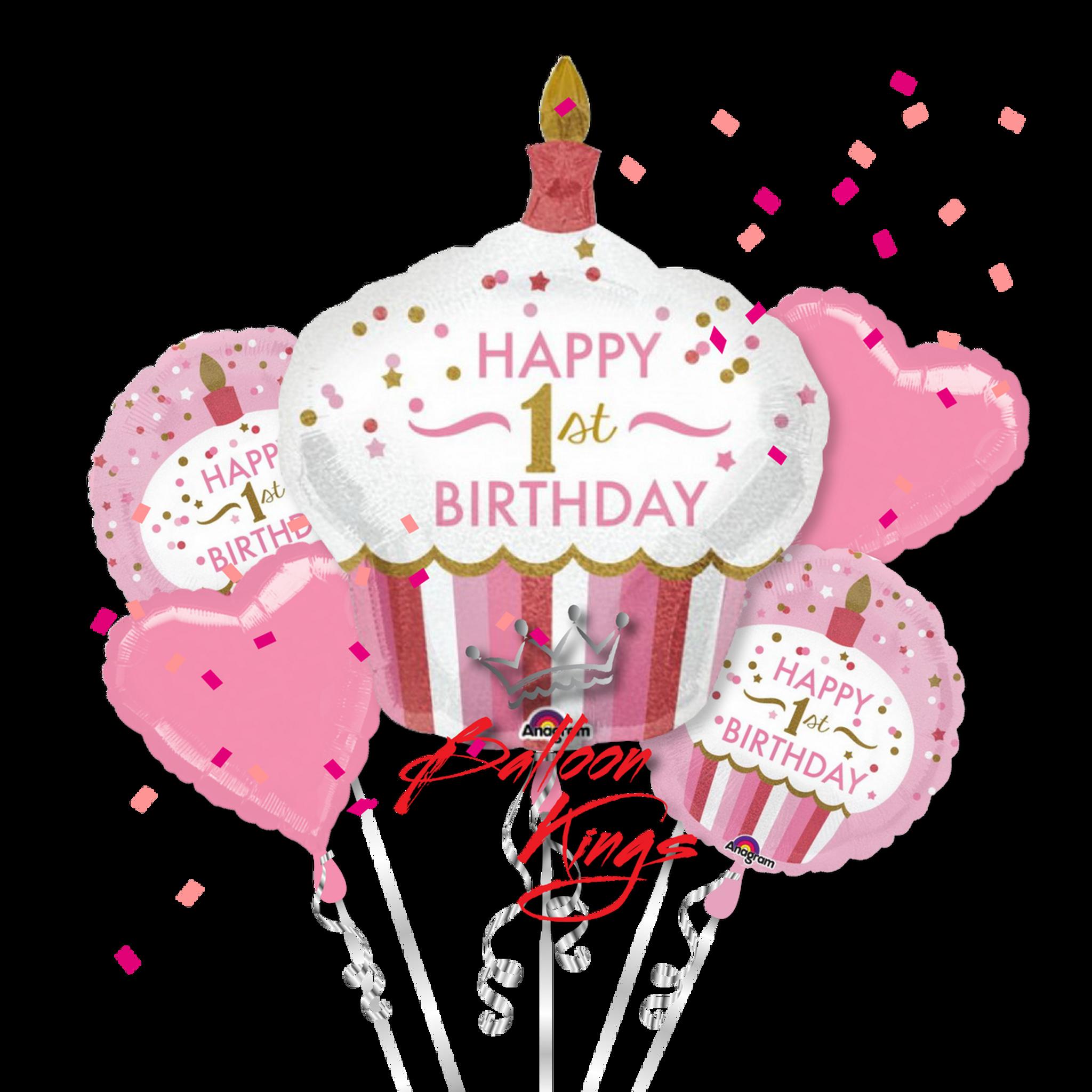 1st Birthday Girl Cupcake Bouquet  Balloon Kings