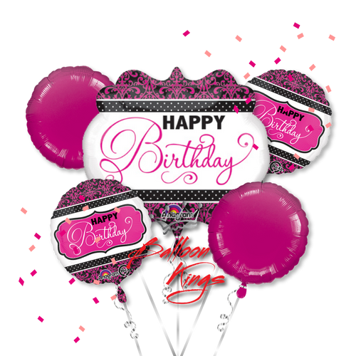 Happy Birthday Pink Black And White Bouquet