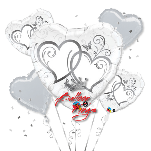 Entwined Silver Hearts Bouquet