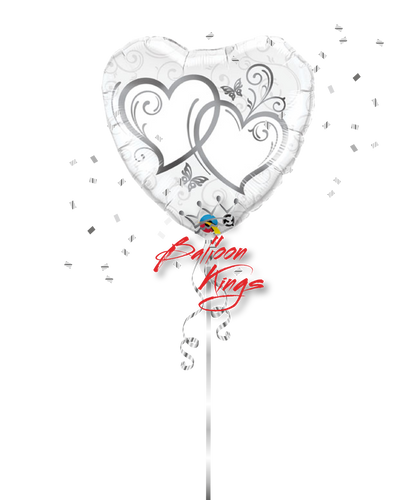 Entwined Silver Hearts