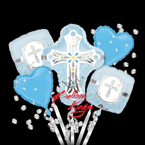 Sweet Baby Christening Blue Cross Bouquet