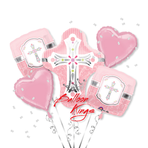 Sweet Baby Christening Pink Cross Bouquet