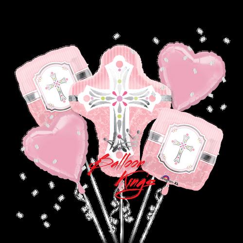 Sweet Baby Christening Pink Cross Bouquet