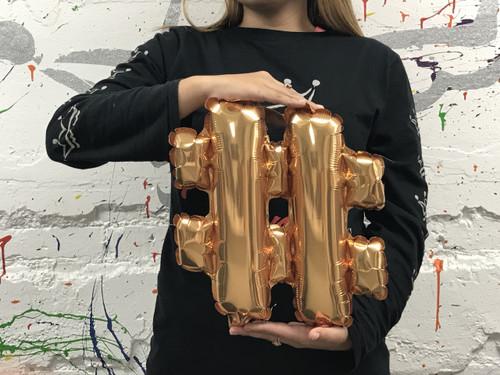 14in Gold Symbol Hashtag