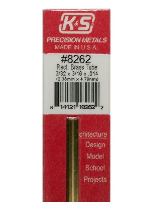 "K&S Brass Rectangle Tube 3/32"" x 3/16"" x 12"" #8262"