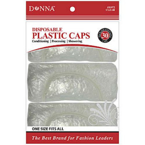 Donna Clear Disposable Plastic Caps - 30 Ct.