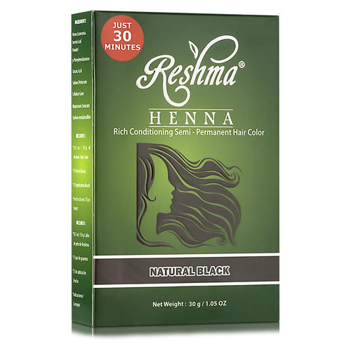 Reshma Beauty Henna Powder Rich Conditioning Semi-Permanent Hair Color - Natural Black (1.05 oz.)