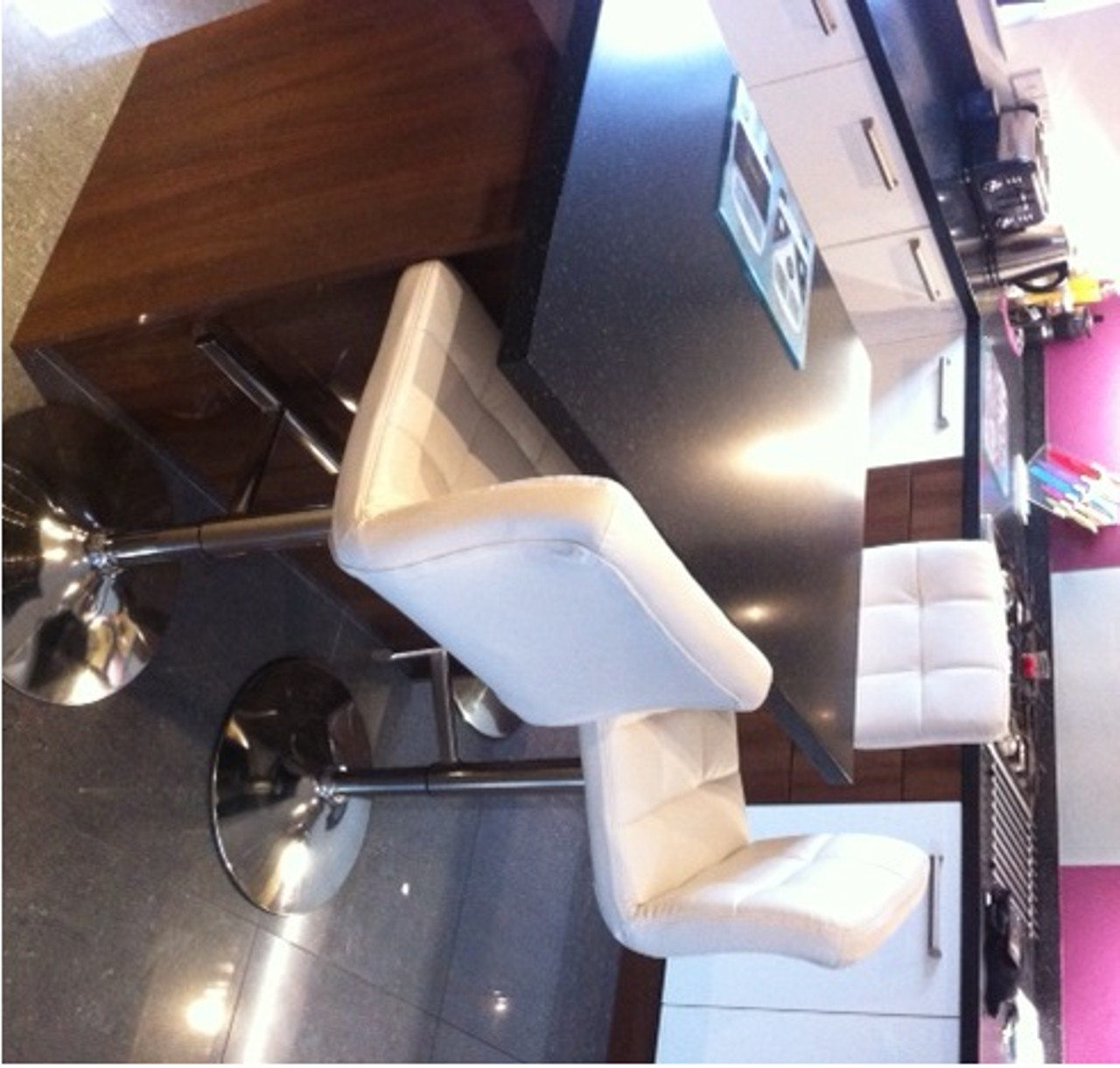 Allegro Brushed Chrome Bar Stool White Simply Bar Stools