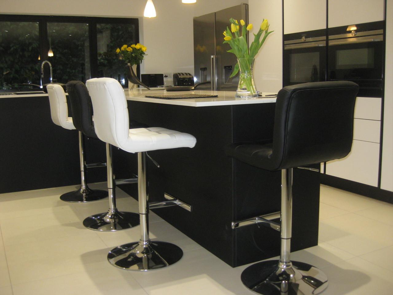 Allegro White Kitchen Bar Stool With Chrome Gas Lift Leg