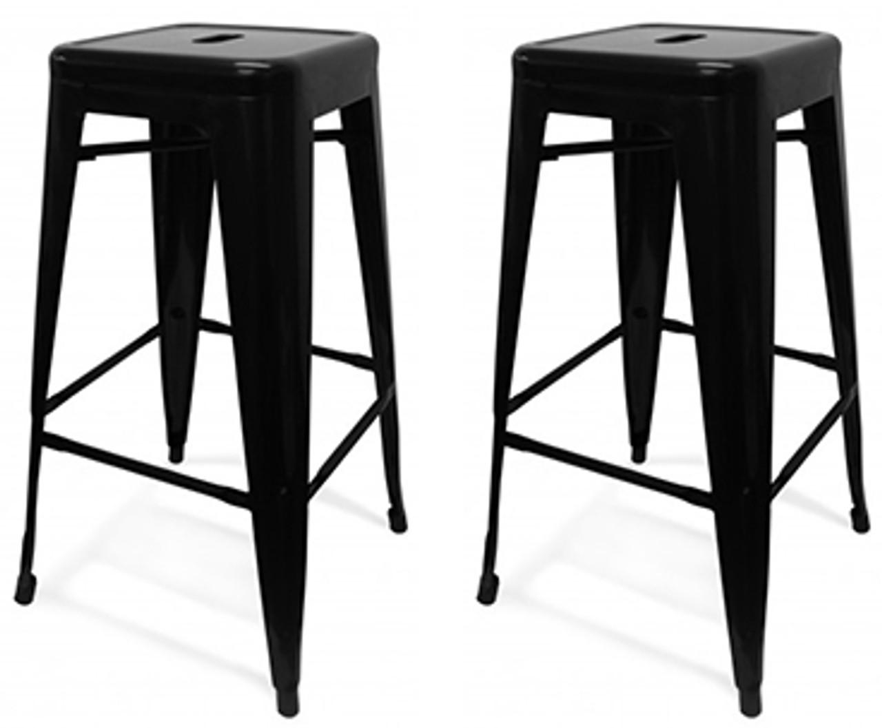 set of 2 oslo bar stools  black  kitchen bar stools