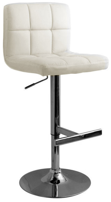 Allegro White Real Leather Brushed Chrome Kitchen Bar Stool