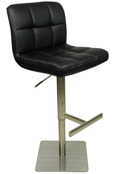 Deluxe Allegro Kitchen Brushed Bar Stool Black With Square
