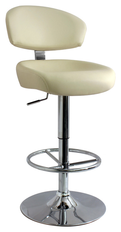 Calipso Bar Stool With Cream Thick Foam Padded Faux Leather