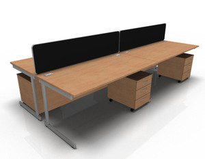 Senator 1600mm Cantilever Desk x 3, Red Divider x 2 and Pedestal x 3 Pack (2B2-526-3D7)