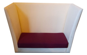 Cream Leather Effect Tall Back Sofa (B16-C1A-079)