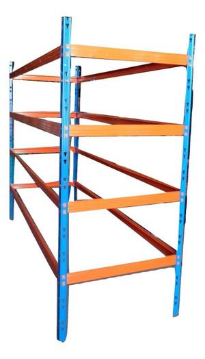 Orange and Blue 4 Shelf Racking (A0A-3D2-E68) (SET E)