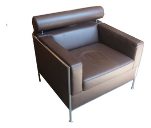 COR Brown Faux Leather Arm Chair (203-048-F5E)
