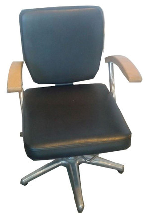 Bukdoo Black Chair With Wooden Arm Rests (258-216-89D)