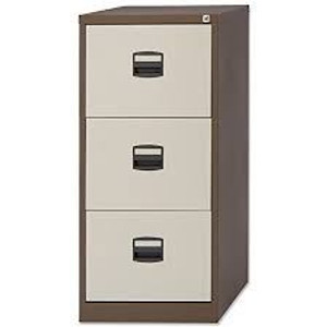 Brown and Cream Metal 3 Drawer Filing Cabinet (05E-690-ACC)
