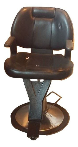 Black Generic Hairdressing Chair With Chrome Base And Black Arms (E8B-E5A-913)