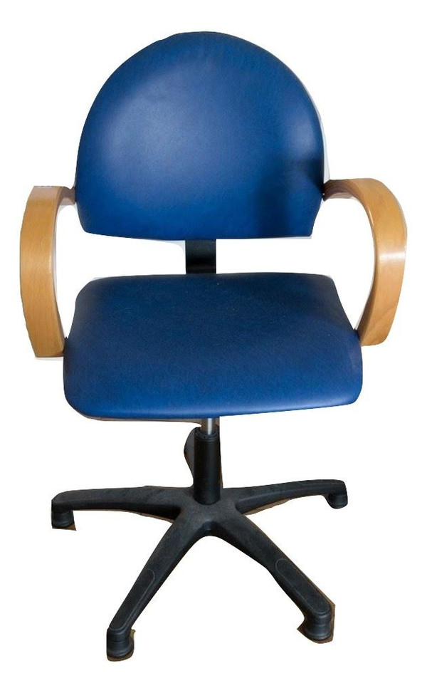 DFM Blue Leather/Effect Chair with Wooden Arms (RAS761)