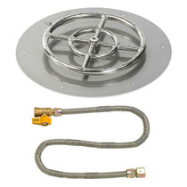 "American Fireglass 18"" Round Flat Pan with Match Lite Kit"