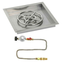 "American Fireglass 18"" Square Drop-In Pan with Match Lite Kit"