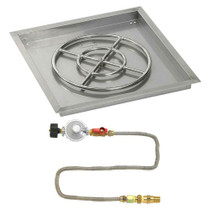 "American Fireglass 24"" Square Drop-In Pan with Match Lite Kit"
