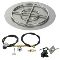 "American Fireglass 24"" Round Flat Pan with Spark Ignition Kit"