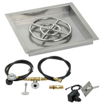 "American Fireglass 18"" Square Drop-In Pan with Spark Ignition Kit"