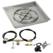 "American Fireglass 24"" Square Drop-In Pan with Spark Ignition Kit"
