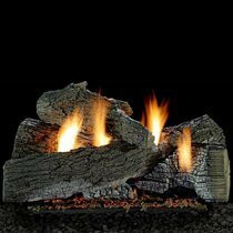Empire Vent Free Wildwood Gas Log Set With Extended Bed Harmony Burner and Variable Flame Remote