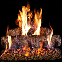 Peterson Real Fyre 24-inch Live-Oak Log Set With Vented Burner Match Lit (Natural Gas Only)