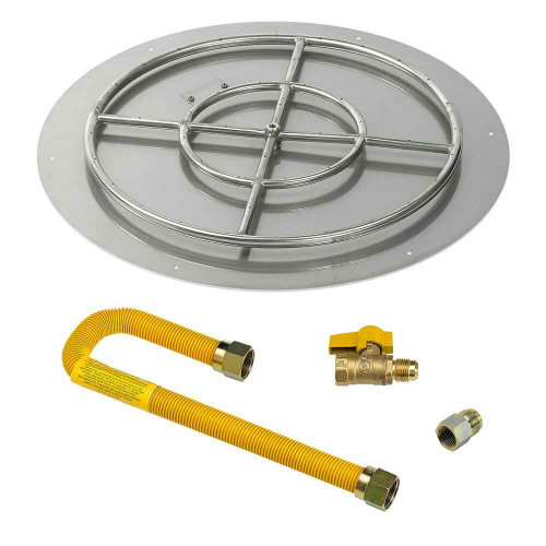 "American Fireglass Round 30"" Flat Pan with Match Lite Kit"