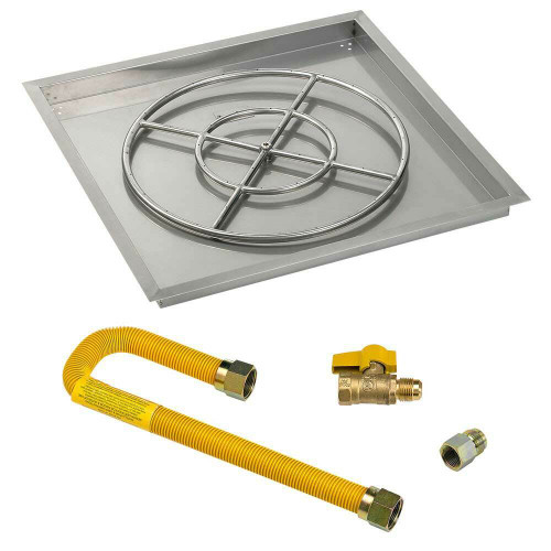 "American Fireglass Square 30"" Drop-In Pan with Match Lite Kit"