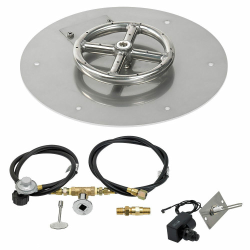 "American Fireglass 12"" Round Flat Pan with Spark Ignition Kit"