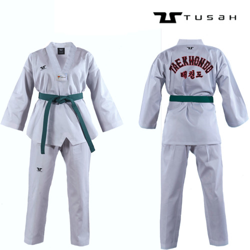 Tusah White Collar WTF Approved Uniform Embroidered Back - Size 180cm (TTEWH)