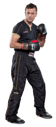 TOP TEN Black Pants with KICKBOXING Embroidery Black/Gold