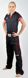 TOP TEN Black Pants with KICKBOXING Embroidery Black/Red
