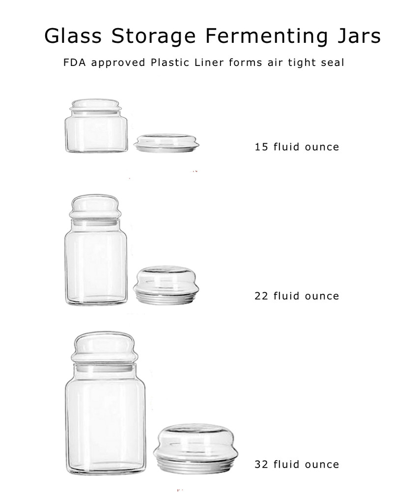 Glass Fermenting and Storage Jars with FDA approved plastic seals air tight.