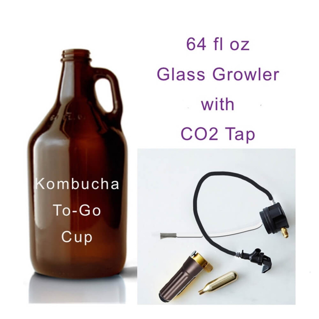 Growl Tap CO2 dispenser and Tap. Fits standard male growlers. 64 oz and 128 oz glass  growlers Includes Growler and Tap and CO2  cartridge. Takes standard threaded CO2 cartridge. We added a Food Grade Stainless Steel Filter