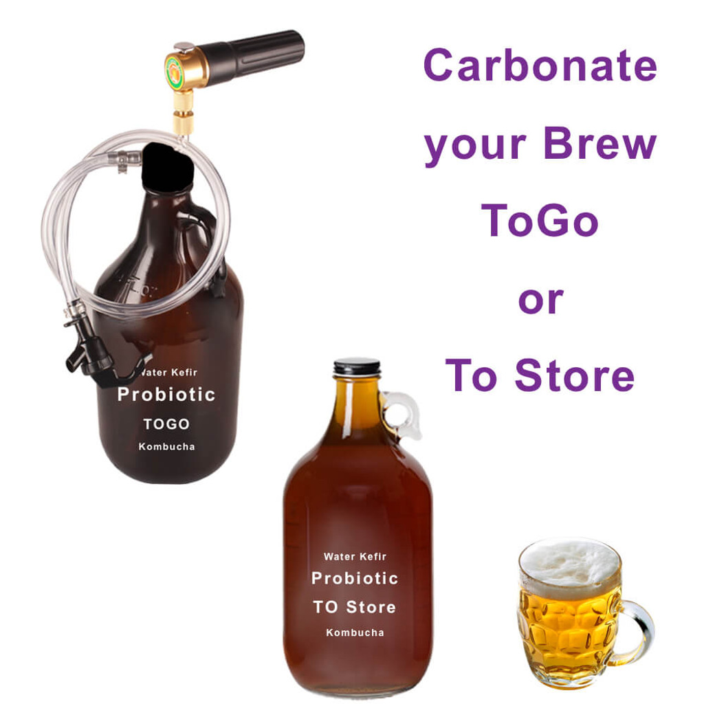 No more flat brew. Our Growler Tap easily carbonates Glass Growlers  TOGO or to store in refrigerator until ready. Carbonate Kombucha, Ginger Beer, Water Crystals, Water Kefir, Sparkles Plain Water, Juice, Apple Cider,Beer, Wine, and even whiskey.