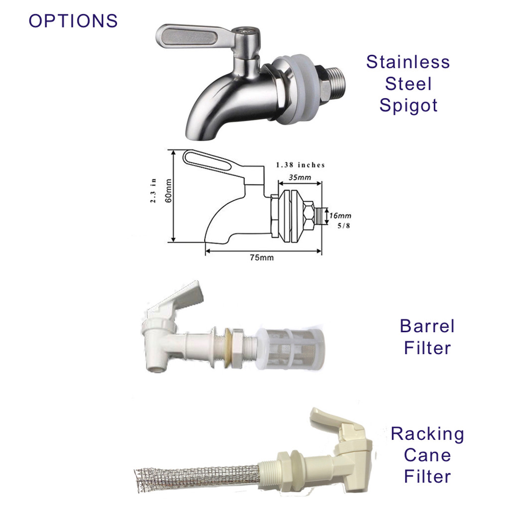 OPTIONAL Stainless Steel Spigot. Food Grade  with various optional filters