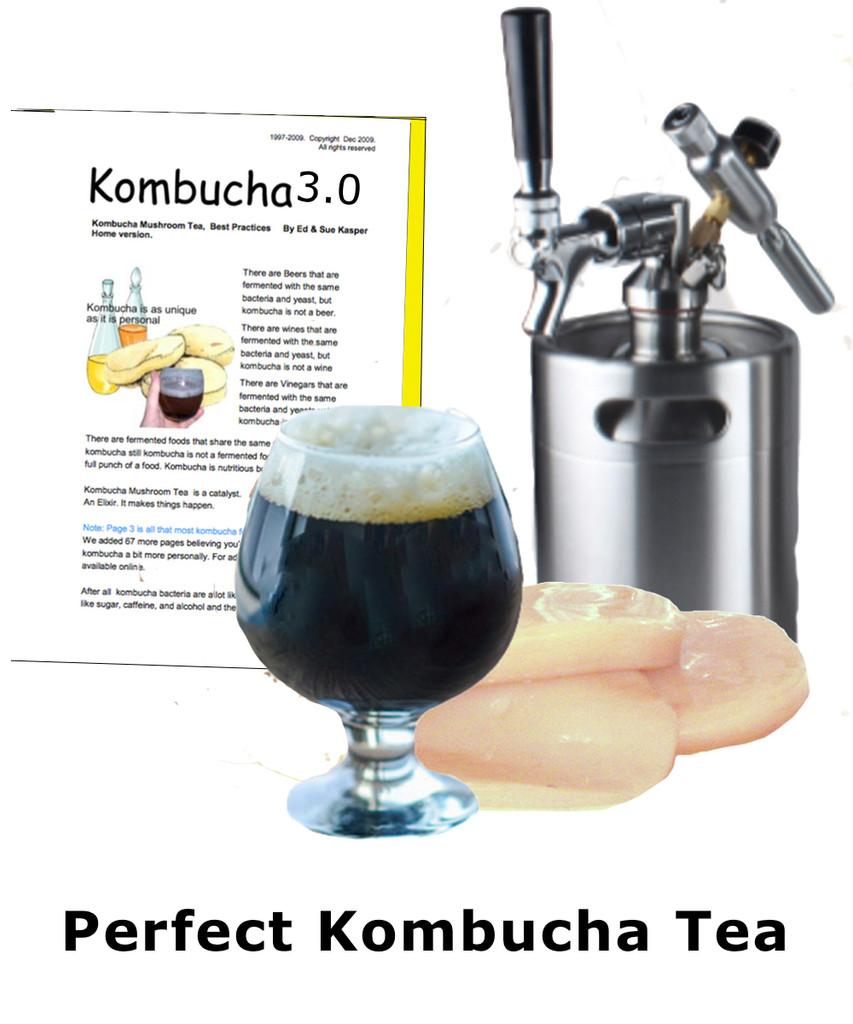 Kombucha Mushroom Tea Starter plus Mini-Keg for Perfect Kombucha Tea every Time.