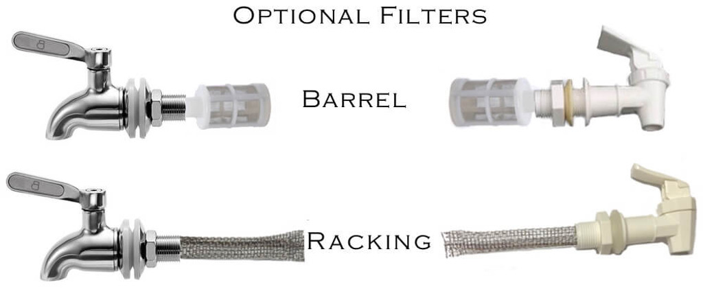 Optional filters for stainless steel spigots and plastic spigots. Less clogs and smoother pure pour.