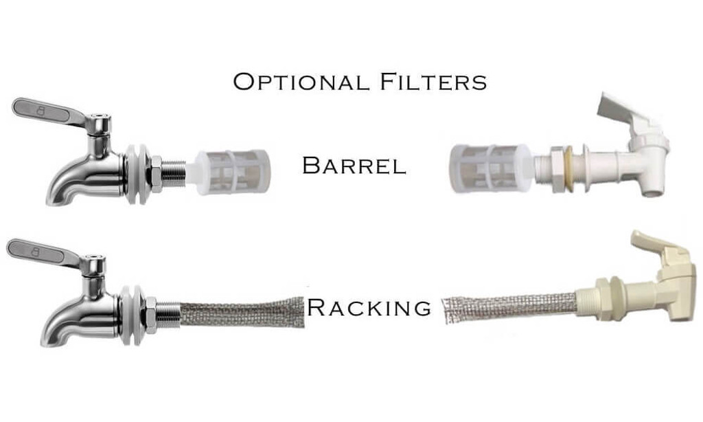 Stainless Steel Brew Filter.  Food Grade Lead Free #305 stainless steel mesh. Barrel Type or Racking Cane available for Stainless Steel Spigot or Plastic Spigot