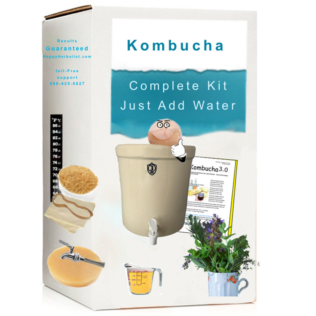 Complete Kombucha Mushroom Starter Kit with 3 gallon Stoneware Keg. More choices, more value, more experience. est. 1997. Get your SCOBY Started today Guaranteed Success.
