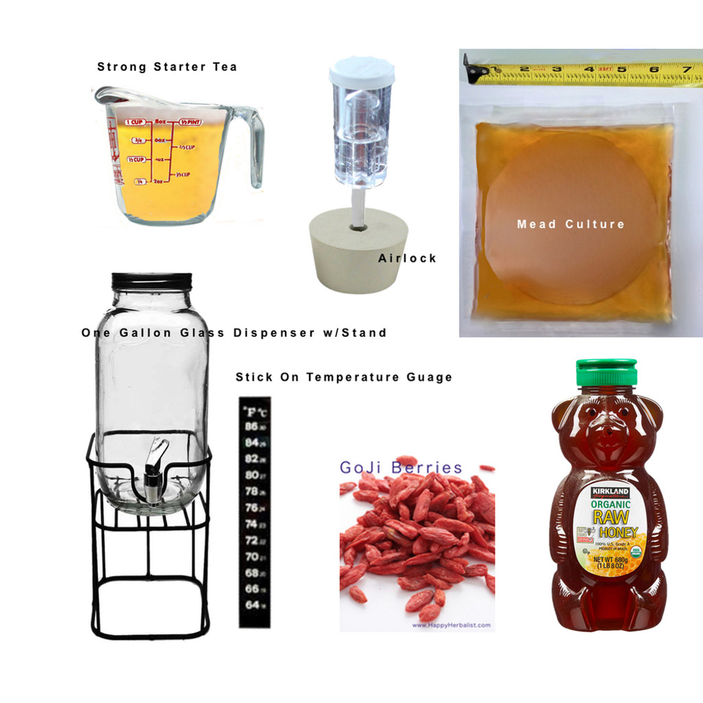 Kombucha Mead Making Complete Kit. Mead Culture (SCOBY with high performance Mead Yeast and Glucobactor) , Starter tea, airlock, honey, temperature gauge, 1 Gallon Glass  dispenser with spigot, and goji berries for additional nutritional value, health and great taste.